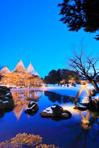 冬の北陸金沢 兼六園ことじ灯籠と唐崎松ライトアップ 冬の段の写真素材 [FYI01799967]