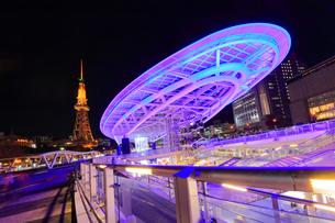 オアシス21と名古屋テレビ塔 夜景の写真素材 [FYI01799970]