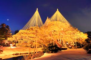 冬の北陸金沢兼六園 月見灯籠に松と月ライトアップ 冬の段の写真素材 [FYI01800067]