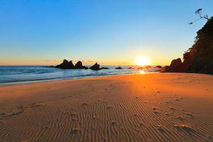 浜辺に朝日の写真素材 [FYI01800112]