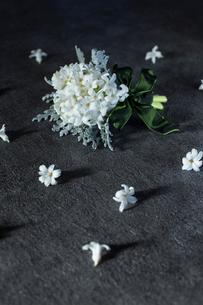 白いヒヤシンスとダスティーミラーのブーケの写真素材 [FYI01800200]