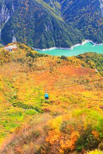 秋の立山・黒部湖と紅葉に立山ロープウェイの写真素材 [FYI01800308]