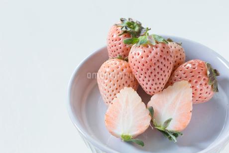陶器のお皿に乗った白い苺の写真素材 [FYI01800468]