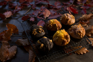 ホームメイドの秋色秋味マフィンの写真素材 [FYI01800568]