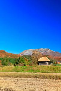 かやぶき小屋に紅葉と大山の写真素材 [FYI01800731]