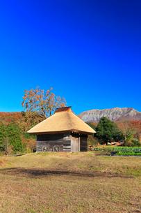 かやぶき小屋と紅葉に大山の写真素材 [FYI01800784]