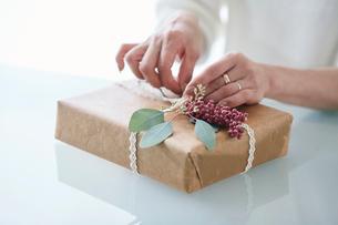 贈り物を包む女性の手の写真素材 [FYI01801087]