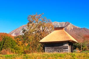 かやぶき小屋と紅葉に大山の写真素材 [FYI01801395]
