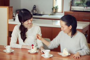 母と娘とケーキの写真素材 [FYI01801423]