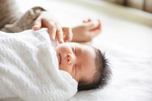 母親と一緒に寝る赤ちゃんの写真素材 [FYI01801537]