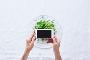 スマートフォンでサラダの写真を撮影する女性の写真素材 [FYI01801774]