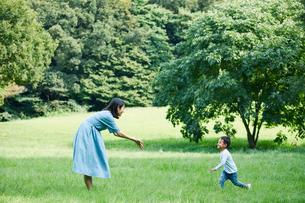 緑の中で遊ぶ家族の写真素材 [FYI01801794]