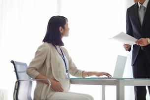仕事をする妊婦女性と男性の写真素材 [FYI01801835]