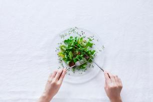 サラダを食べる女性の写真素材 [FYI01801847]