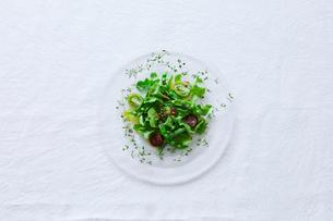 テーブルに置かれたサラダの写真素材 [FYI01801959]