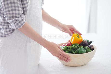 野菜を持つ女性の手の写真素材 [FYI01801992]