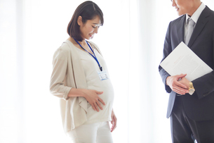 仕事をする妊婦女性と男性の写真素材 [FYI01802027]