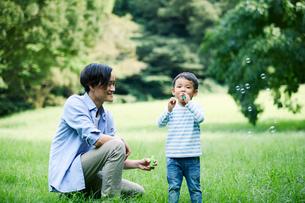 緑の中で遊ぶ家族の写真素材 [FYI01802108]