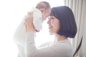 赤ちゃんを抱っこする母親と赤ちゃんの写真素材 [FYI01802712]