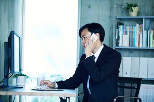 オフィスで仕事をするビジネスマンの写真素材 [FYI01802812]