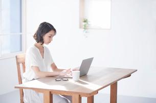 パソコンを見る女性の写真素材 [FYI01802861]