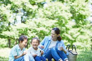 屋外で遊ぶ親子の写真素材 [FYI01803258]
