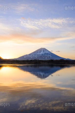 精進湖より望む朝焼けと富士山の写真素材 [FYI01803349]