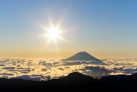 南アルプス・赤石岳より望む富士山と朝日の写真素材 [FYI01803432]