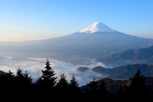 山梨県 夜明けの富士山と雲海 新道峠よりの写真素材 [FYI01803607]