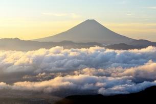 朝日を浴びた雲海に浮かぶ富士山の写真素材 [FYI01803628]