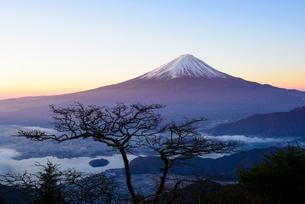 山梨県 新道峠より夜明けの富士山の写真素材 [FYI01804242]