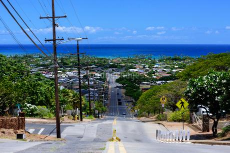 ハワイ オアフ島 路地から見たハワイらしい風景の写真素材 [FYI01804584]