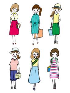 夏服のおしゃれ好きな学生たちのイラスト素材 [FYI01805275]