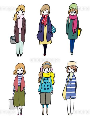 冬服のおしゃれ好きな学生たちのイラスト素材 [FYI01805326]