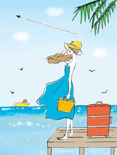 海を眺める女性のイラスト素材 [FYI01805356]