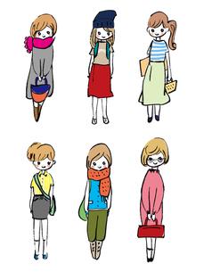 おしゃれ好きな女子学生たちのイラスト素材 [FYI01805682]