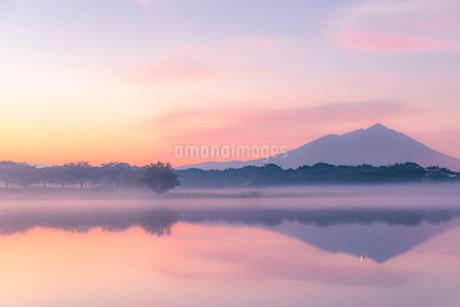 母子島遊水地と筑波山の写真素材 [FYI01805745]