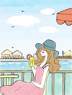 川辺のカフェで飲み物を片手にくつろぐ女性のイラスト素材 [FYI01805962]