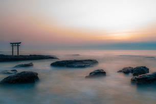 神磯の鳥居と夜明けの写真素材 [FYI01806085]