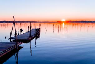 印旛沼の夜明けの写真素材 [FYI01806203]