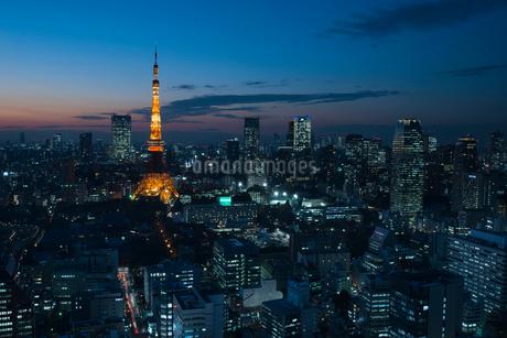 東京タワーのある夜景の写真素材 [FYI01806347]