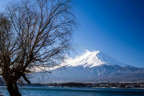 河口湖からみた富士山の写真素材 [FYI01806413]