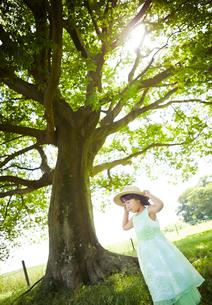 木の下で帽子をおさえる女の子の写真素材 [FYI01806457]