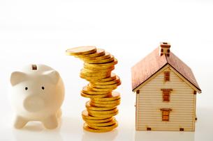 豚の貯金箱と家の模型の写真素材 [FYI01807385]