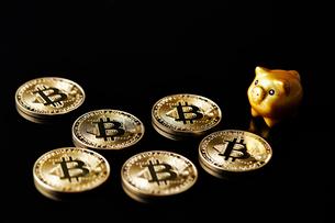 ビットコインと豚の置物の写真素材 [FYI01808915]