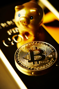 ビットコインと金塊と豚の置物の写真素材 [FYI01809039]