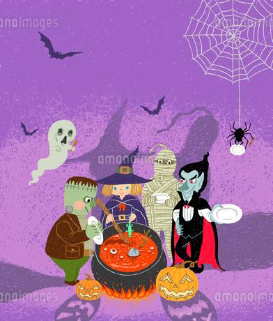 ハロウィンのモンスター達が魔女の晩餐に招かれて大釜の料理ができるのを待つ様子のイラスト素材 [FYI01809947]