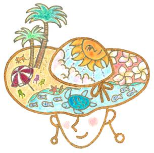 夏の帽子ー海と自然  顔付きのイラスト素材 [FYI01810000]
