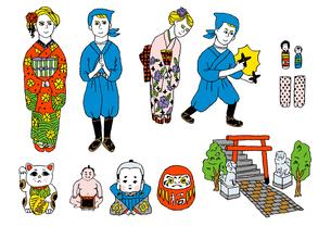 外国人観光客の日本体験のイラスト素材 [FYI01810070]