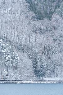長野県大町市 木崎湖の雪景色の写真素材 [FYI01810088]